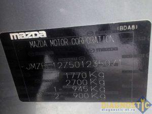 Mazda табличка с VIN