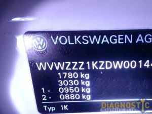 VW Golf табличка с VIN